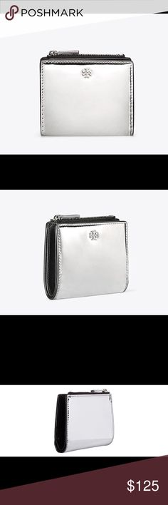 Tory Burch Robinson Mini Metallic Wallet % authentic Tory Burch Robinson Mini Mirror Metallic Wallet NWT fold over pin snap closure 6 credit card slots 2 bill pockets 1 zip pocket Mirror finish Metallic leather iconic stacked T logo on front still in wrapping never been opened Tory Burch Bags Wallets