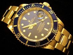 Mens Solid 18k Gold #Rolex Submariner Date Blue Dial Sub. Who's buying it for me?