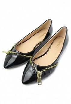 Pointed Toe Flat Shoes with Zipper