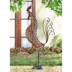 Metal Rooster Sculpture available from Mamaws Jardin. www.mamawsjardin.com