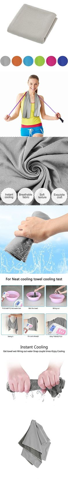 """Eastsure 1PCS Yoga Towel Instant Cooling Relief Microfiber Quickly Dry for Fitness, Gym & Yoga, Hiking & Running and Other Sports 39""""x12"""" Grey"""