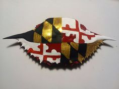 crab shell ornaments | Maryland Flag Crab Shell Ornament by RaineDawn on Etsy