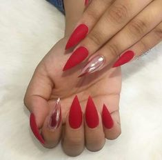 72616 @hairnmakeup Red nails wit chrome fire