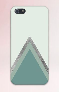 Sea Green x Metallic Chevron Layered Design Case for iPhone 6 6 Plus iPhone 5 5s 5c 4 4s Samsung Galaxy s6 s5 s4 & s3 and Note 5 4 3 2