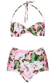 Topshop Pink Floral High Waist Bikini, $68, available at Topshop.