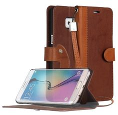 Galaxy S6 Edge Plus Case, ACEABOVE [Kickstand] Samsung Galaxy S6 Edge Plus Wallet Case [Ultra Slim] Premium PU Leather Flip Cover - Flip Case for Samsung Galaxy S6 Edge+ / Plus (2015) - Dark Brown
