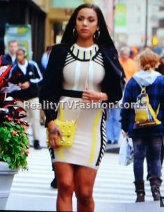 "Erica Mena's Celeb Boutique 'Charlotte' Nude, Black & Yellow Bandage Dress on ""Love & Hip Hop New York"""