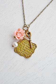 Love Letter Charm Necklace,Gift for Her,Whimsical Rose Flower Pendant,Love Gift,French Style Romantic Love Letter,Pink Rose,Skeleton Key Necklace,Poetry Love Letter,Rustic Love Letter Jewelry