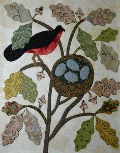 """In Mei leggen alle vogeltjes een ei.In May all birds lay eggs"" Hand Applique, Applique Patterns, Embroidery Applique, Quilt Patterns, Block Patterns, Flower Applique, Antique Quilts, Vintage Quilts, Patch Quilt"