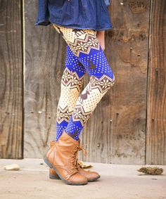 This Blue & Brown Fair Isle Leggings - Girls by White Plum is perfect! White Plum, Blue Brown, To My Daughter, Daughters, Katies Fashion, Girls In Leggings, Boots, Pattern, Crotch Boots
