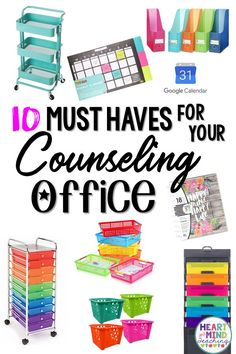 Ten must have items for your School Counseling Office. Start the school year out right with these helpful suggestions for back to school for School Counselors and get organized. The Effective Pictures School Counselor Organization, School Counselor Office, School Guidance Counselor, Counseling Office Decor, High School Counseling, Elementary School Counselor, Group Counseling, Therapist Office Decor, Organization Ideas