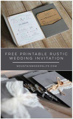How to diy pocket invitations the easy way pinterest free free printable rustic wedding invitation mountainmodernlife filmwisefo