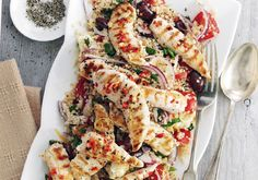 New Low FODMAP Recipes - Griddled chicken with quinoa Greek salad Bbc Good Food Recipes, Cooking Recipes, Yummy Food, Healthy Recipes, Delicious Dishes, Easy Recipes, Protein Recipes, Easy Cooking, Greek Salad Recipes