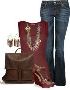 Casual Outfits | Brandy  AMERICAN VINTAGE tank top, 7 For All Mankind jeans, Marni wedges, Roots Raiders bag  by fluffof5