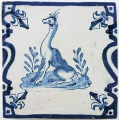 Antique Dutch Delft tile depicting a giraffe in a rare position