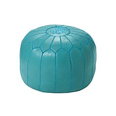 Turquoise Moroccan Leather Pouf | Serena & Lily.  for playroom or foot of bed