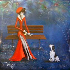 """The Waiting Game"" original painting/ acrylic on board/ light texture and glaze work/resin coating/ 20"" x 20""/ nostalgic/ whimsy/ Christmas/ Winter collection/dog/spaniel"