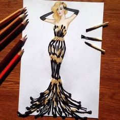 How to Draw a Fashionable Dress - Drawing On Demand Fashion Design Drawings, Fashion Sketches, Drawing Fashion, Fashion Sketchbook, Collage Kunst, Arte Fashion, Fashion Fashion, Fashion Dresses, Illustration Mode