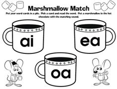 Printable centers for vowel combinations and long/short o and a
