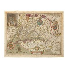 """Smith, John. Hand-Colored Engraved Map.  """"Virginia, Discovered and Discribed by Captayn John Smith, Graven by William Hole."""" [London, 1612.] 2nd state. 13 x 16 3/8 in; 330 x 415 mm, margins. On watermarked laid paper. Old color. Moderate mat burn & toning, scattered moderate foxing. #FreemansAuction"""