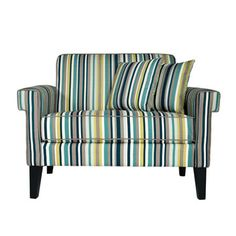 Teal, yellow, & gray striped loveseat - perfect for living room with a gray sectional.