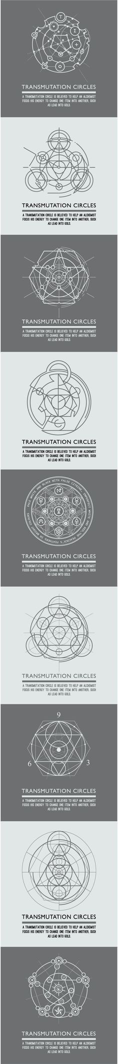 Transmutation circles - alchemical symbol - sacred geometry - can be used in…: