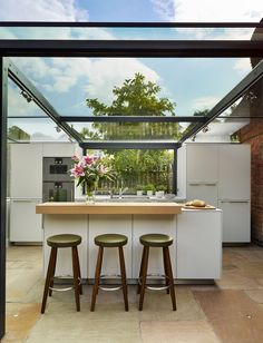 Love how the internal and external areas are only separated by glass. Re-pinned by #KNCS | #InteriorDesign #HomeDecor