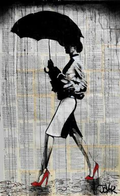 This drawing creates emphasis on the woman's bright red stiletto heels, as well as her umbrella, by portraying her as a silhouette with a pop of red on her shoes.