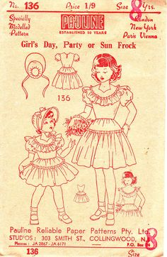 Rare 1940s Vintage pattern  Girls Dress & by allthepreciousthings, $22.00.  Mom or gram made this dress for me when I was young. Wow, memories!!