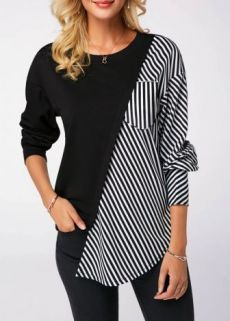Spring Two Tone T Shirt For Women Round Neck Black Long Sleeve Striped Sweatshirt Striped Long Sleeve Shirt, Long Sleeve Shirts, Mode Hijab, Outerwear Women, Diy Clothes, Blouse Designs, Jackets For Women, Short Jackets, Ideias Fashion