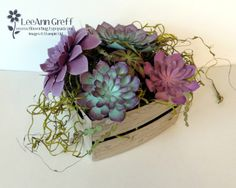 We made this cute crate of succulents at a recent Team meeting. Isn't it gorgeous? I just love these dies! And they're so easy to make too. The crate is made from Crumb Cake card stock; stamping the Paper Flower Arrangements, Succulent Arrangements, Flower Decorations, Paper Flowers, Paper Succulents, Baby Succulents, 3d Paper Crafts, Paper Crafting, Punch Art