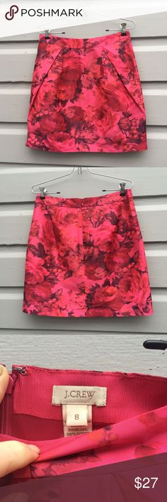 J. Crew floral pleated mini skirt J.Crew mini skirt in vibrant pink and red floral pattern. Size 8 with structured pleats that provide shape and show just the right amount of leg. Back zip closure. Looks awesome with or without tights . J. Crew Skirts Mini