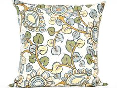 Floral Pillow Cover Modern Leaves Blue Green by PookieandJack, $20.00