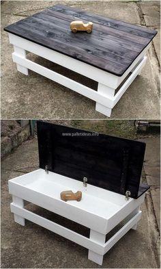 repurposed pallet table with storage #palletfurnituretable