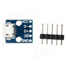 """Micro USB 5V Power Adapter Socket Module - Blue. Description: This simple board breaks out a micro-B USB connector's VCC, GND, D- and D+ pins to a 0.1"""" pitch header. If you want to add the increasingly popular micro-B USB to your project, but don't want to put up with soldering the tiny connector, this is the board for you.. Tags: #Electrical #Tools #Arduino #SCM #Supplies #Other #Accessories"""