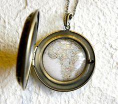 Map Necklace World Traveler Large Locket - Africa. $24.00, via Etsy.
