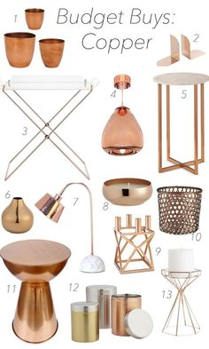 Budget Buys: Copper Budget Buys: Copper – Gone are the days when copper was sparse and even worse, expensive. It's making quite the impression and us consumers can't seem to Copper Accessories, Home Decor Accessories, Decorative Accessories, Copper Bedroom Decor, Copper Decor, Copper Accents, Copper Kitchen, Copper Room, Piece A Vivre