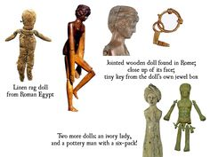Collection of Roman toys from museums Roman Art, Old Dolls, Medieval Art, Small Art, Wooden Dolls, Childhood Toys, Ancient Artifacts, Ancient Rome, Antique Toys