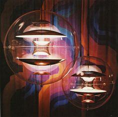 GLOBE CEILING LIGHTS   VP Globe ceiling lights. Designed by Verner Panton for Louis Poulsen, Denmark, 1960's. Plexiglass and lacqued steel.   www.bocadolobo.com/ #luxuryfurniture #designfurniture