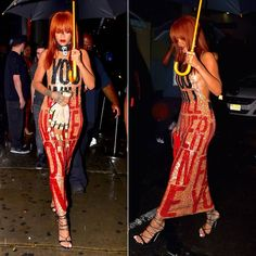 Rihanna wearing Discount Universe you will never own me sequin dress and hand-shaped clutch, Dsquared2 pre-fall 2015 python sandals