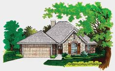 Eplans French Country House Plan - An Alluring Appeal - 1416 Square Feet and 3 Bedrooms from Eplans - House Plan Code French Cottage Decor, Cute Cottage, French Country Decorating, French Country House Plans, European House Plans, Small House Plans, Country Bedroom Blue, French Country Bedrooms, Bungalow House Plans