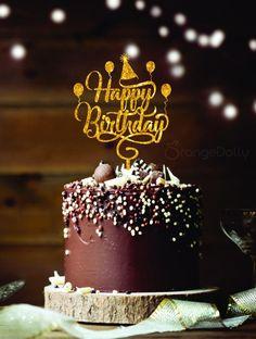 Happy birthday cake topper – Gold Mirror Acrylic Monogram Birthday cake toppers -Birthday party d Happy Birthday Wishes Cake, Happy Birthday Cake Images, Birthday Wishes And Images, Happy Birthday Celebration, Happy Birthday Cake Topper, Birthday Blessings, Happy Birthday Messages, Happy Birthday Greetings, Happy Birthday Chocolate Cake