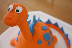 fondant dinosaur cake for 3rd birthday party