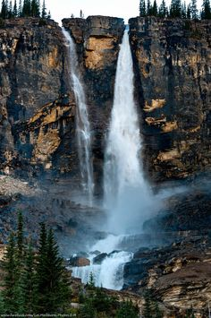 Twin Falls seen from the Iceline Trail in Yoho National Park, British Columbia, Canada