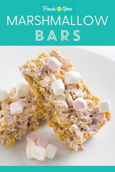 Marshmallow Bars - Pinch Of Nom Low Calorie Recipes, Easy Healthy Recipes, Snack Recipes, Cooking Recipes, Muffin Recipes, Free Recipes, Zucchini Muffins, Homemade Desserts, Fun Desserts