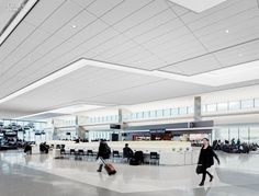 """The sculptured ceiling funnels in natural light through clerestories and skylights"" 