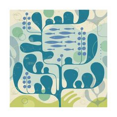 Love the beach, but have a taste for contemporary style? This art print combines the best of both worlds, with underwater blues and greens in a thoroughly modern rendering of a school of fish in a quir...  Find the Kelp Modern Art Print, as seen in the Caribbean Cool Bedroom Collection at http://dotandbo.com/collections/caribbean-cool-bedroom?utm_source=pinterest&utm_medium=organic&db_sku=89077