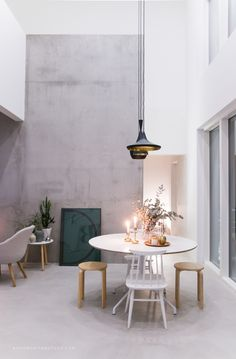 the concrete wall and those Tom Dixon lamps
