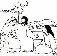 Jesus with Mary and Martha Color Page | Sunday School | Pinterest ...