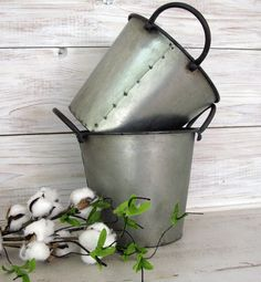 Galvanized Pail with Handles- Farmhouse Decor Metal Bucket - Country Decor Rustic Metal Bucket by FarmhouseHomeDecor on Etsy